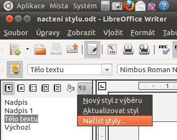 Screenshot kontextového menu pro načítání stylů